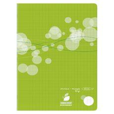 Cahier piqué 24x32cm 96 pages grands carreaux Seyes vert motif ronds