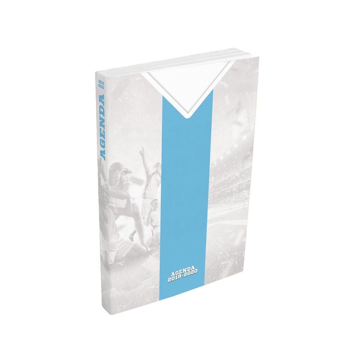 Agenda scolaire journalier garçon 320 pages 12x17cm couverture cartonnée souple blanc et bleu foot 2019 2020