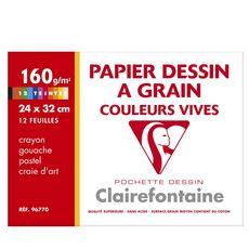 CLAIREFONTAINE papier a grain p.e.f.c. couleurs vives 240x320 12 feuilles 160g clairefontaine