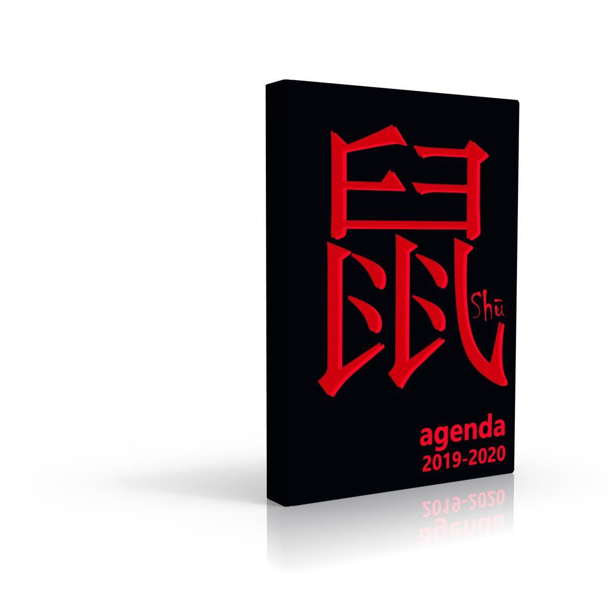 Agenda scolaire journalier 320 pages 119x163cm lycéen signe chinois noir et rouge 2019 2020