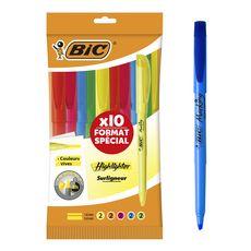 BIC Lot de 10 surligneurs couleurs vives Brite Liner