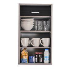 Rangement de cuisine à rideau coloris aluminium L40 cm - COOKING (Aluminium/noir)