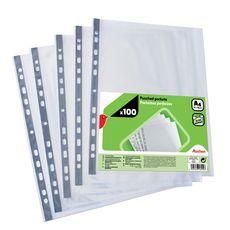 AUCHAN Lot de 100 pochettes plastiques perforées lisses A4