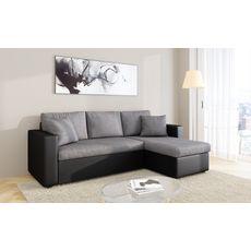 Canapé d'angle 3 places réversible et convertible MATHILDE coloris gris et noir (Gris/Noir)