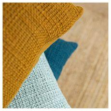 Coussin déco uni déhoussable en Coton KERALA  (Bleu céladon)