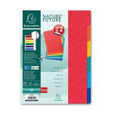 EXACOMPTA Lot de 2x6 intercalaires A4 carte lustrée 7 trous couleurs assorties