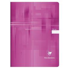 CLAIREFONTAINE Cahier piqué 24x32cm 96 pages petits carreaux 5x5 rose