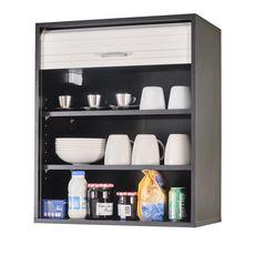 Rangement de cuisine à rideau coloris noir L60 cm - COOKING (Noir/Blanc)