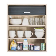 Rangement de cuisine à rideau coloris chêne L60 cm - COOKING (chêne/noir)