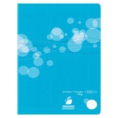AUCHAN Cahier piqué polypro 24x32cm 96 pages grands carreaux Seyes bleu motif ronds
