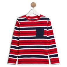 IN EXTENSO T-shirt manches longues à rayures garçon (Rouge )