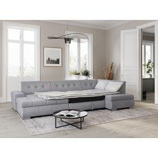 Canapé d'angle gauche panoramique convertible en tissu gris clair 6 places WIDE