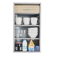 Rangement de cuisine à rideau coloris aluminium L40 cm - COOKING (Aluminium/chêne)