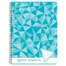 AUCHAN Cahier 24x32cm 100 pages grands carreaux Seyes à spirale bleu motif triangles