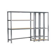 Concept rangement de garage MODULÖ STORAGE SYSTEME EXTENSION 2 étagères 5 plateaux longueur 255 cm