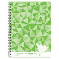 AUCHAN Cahier 24x32cm 100 pages grands carreaux Seyes à spirale vert motif triangles