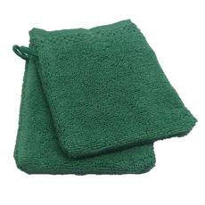 ACTUEL Lot de 2 gants de toilette unis en pur coton qualité Zéro Twist  500 g/m² (Vert)