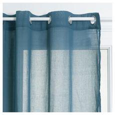 ATMOSPHERA Rideau Voilage uni oeillets métal en polyester 140x240cm ANA (Bleu orage)