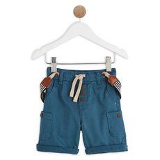 IN EXTENSO Bermuda avec bretelles bébé garçon (Bleu foncé)