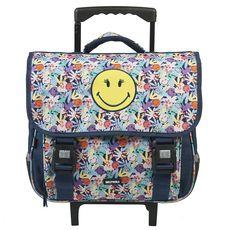Smiley Cartables à roulettes bleu motif fleurs SMILEY WORLD