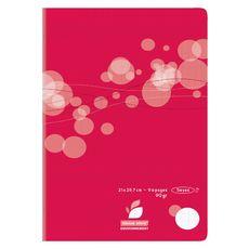 Cahier piqué polypro 21x29,7cm 96 pages grands carreaux Seyes rouge motif ronds