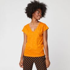 IN EXTENSO T-shirt manches courtes jaune fleuri femme (Jaune)