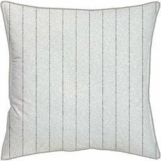 Coussin avec zip fantaisie en coton motif lignes PIPING