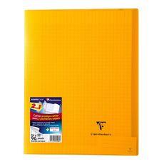 CLAIREFONTAINE Cahier piqué polypro Koverbook 24x32cm 96 pages grands carreaux Seyes jaune transparent