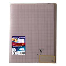 CLAIREFONTAINE Cahier piqué polypro Koverbook 24x32cm 96 pages grands carreaux Seyes noir transparent