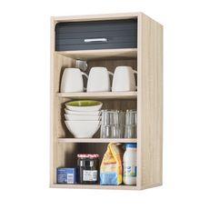 Rangement de cuisine à rideau coloris chêne L40 cm - COOKING (chêne/noir)