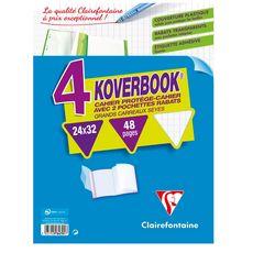 CLAIREFONTAINE  Lot de 4 cahiers piqués polypro Koverbook 24x32cm 48 pages grands carreaux Seyes