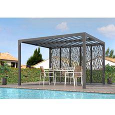 Pergola bioclimatique ALU +5 panneaux moucharabieh gris pour côté 3,60 m / protection : 10,80 m2