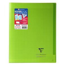 CLAIREFONTAINE Cahier piqué polypro Koverbook 24x32cm 96 pages grands carreaux Seyes vert transparent