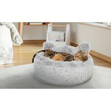 Coussin pour chat avec oreilles diamètre 60 cm gris