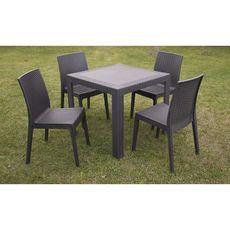 ARETA Table de jardin 80x80x72cm résine chocolat SATURNO