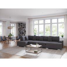 Canapé d'angle gauche panoramique convertible tissu velours 5 places RECEPTION (Gris Clair)