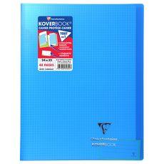 CLAIREFONTAINE Cahier piqué polypro Koverbook 24x32cm 48 pages petits carreaux 5x5 bleu transparent