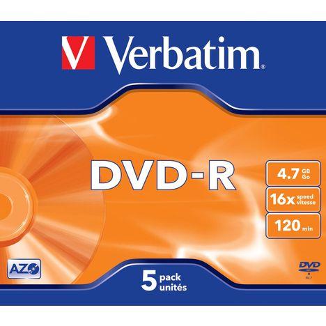 VERBATIM CD DVD vierge DataLifePlus - 120mn - 4.7Go - 16x - 5 pièces en boîte cristal - Matt Silver