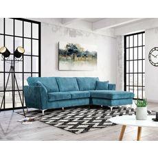 Canapé d'angle droit MALIA 4 places, confort moelleux, tissu velours (bleu)