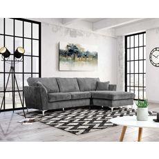 Canapé d'angle droit MALIA 4 places, confort moelleux, tissu velours