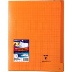CLAIREFONTAINE Cahier piqué polypro Koverbook 24x32cm 96 pages grands carreaux Seyes orange transparent