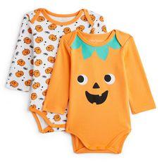 IN EXTENSO Lot de 2 bodies manches longues citrouilles halloween bébé