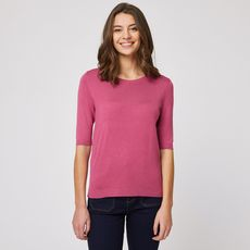 IN EXTENSO Pull col rond manches 3/4 rose femme (Rose framboise)