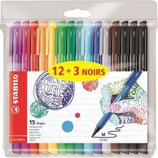 STABILO Lot de 15 stylos feutres pointe moyenne 12 couleurs + 3 noirs Point Max