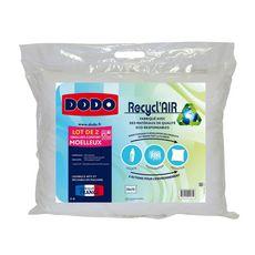 DODO Lot de 2 oreillers confort moelleux  RECYCL'AIR (Blanc)
