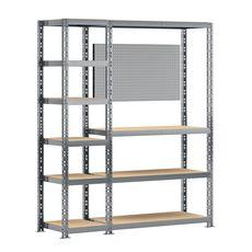 Concept rangement de garage MODULÖ STORAGE SYSTEME EXTENSION 2 étagères-établi 10 plateaux longueur 150 cm