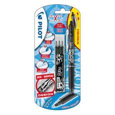 FriXion Ball Clicker - Noir - Roller encre effaçable - Rétractable - pointe moyenne + 1 étui de 3 recharges noire pointe moyenne