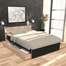 Lit 140 x 190 cm avec tête étagère et 2 tiroirs lit  ALGA (Chêne blanchi / Noir)