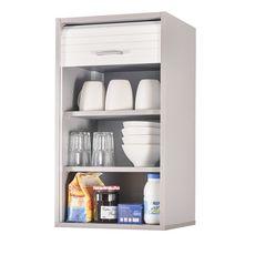 Rangement de cuisine à rideau coloris aluminium L40 cm - COOKING (Aluminium/blanc)