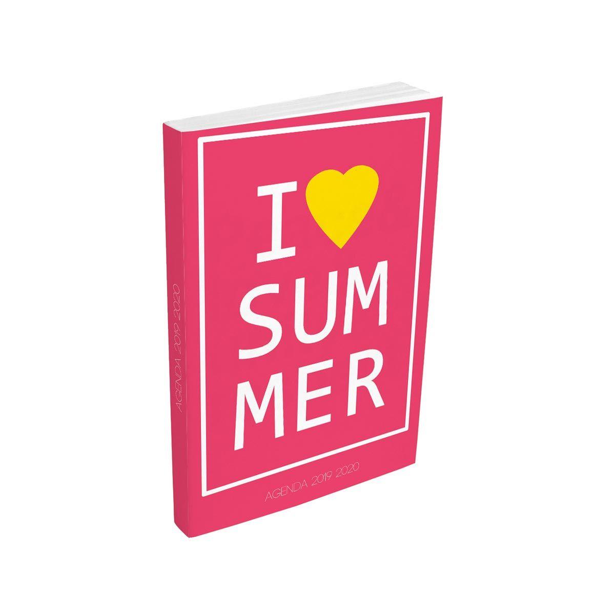 Agenda scolaire journalier fille 320 pages 12x17cm couverture cartonnée souple rose i love summer 2019 2020